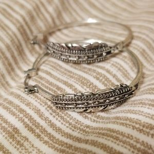 Lucky brand feather hoops